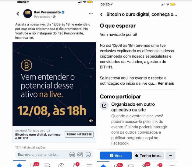 Publicidade do Itaú chamou Bitcoin até de ouro digital