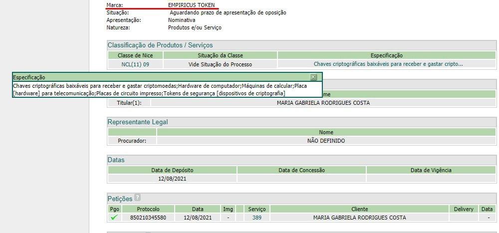 Registro de marca Empiricus Token