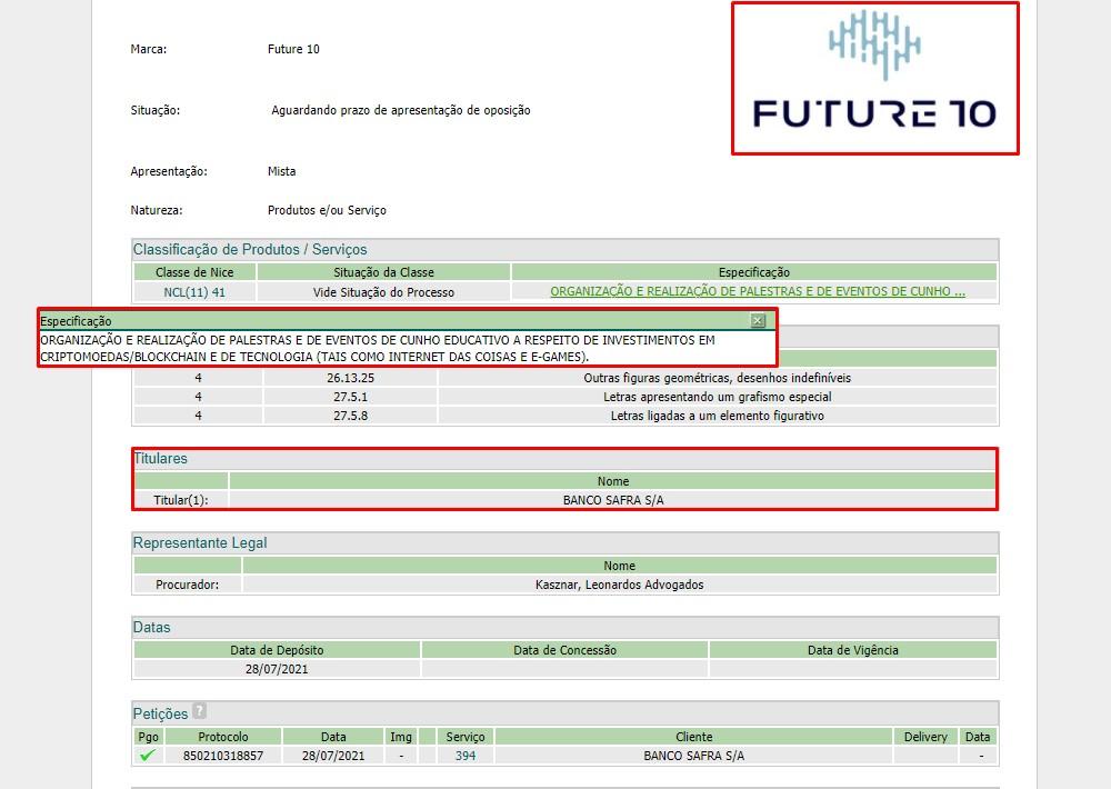 Registro de marca do Banco Safra para oferecer palestras de criptomoedas e blockchain