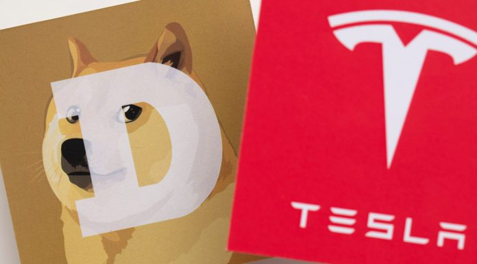 Símbolos da Dogecoin e Tesla
