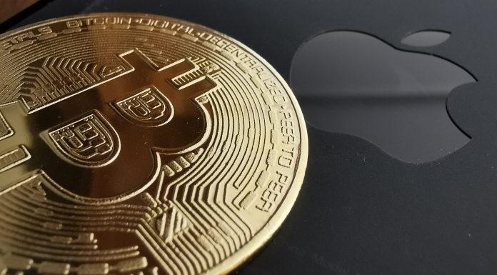 Bitcoin e símbolo da Apple criptomoedas