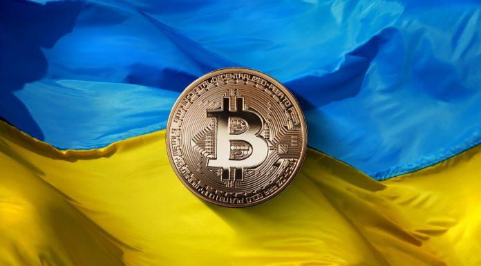Bitcoin na bandeira da Ucrânia