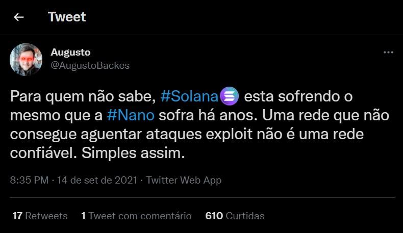 Brasileiro e youtuber das criptomoedas Augusto Backes criticou projeto da Solana e comparou com a Nano