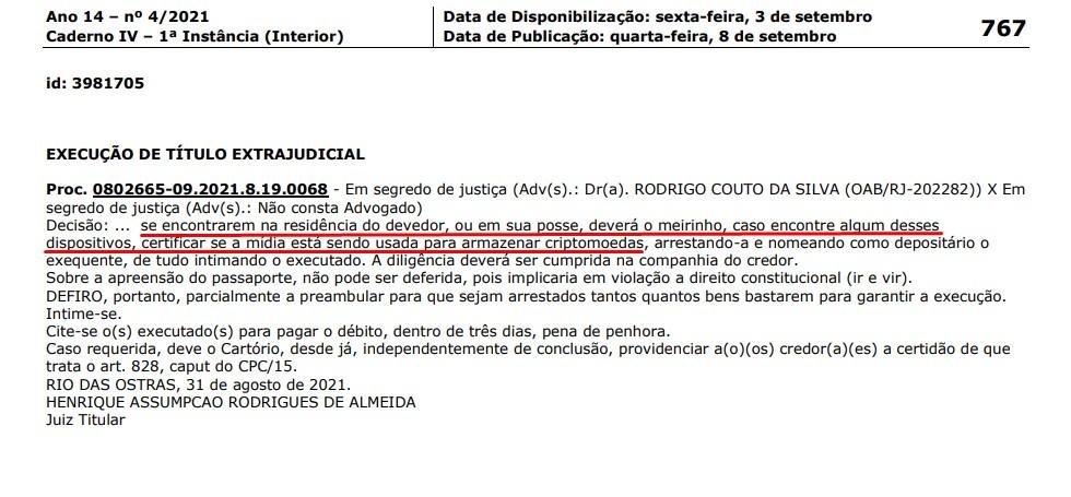Decisão polêmica sobre criptomoedas na justiça do Rio de Janeiro