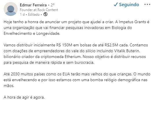 Edmar Ferreira comentou sobre projeto de longevidade criador Ethereum