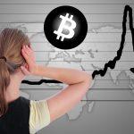 Mulher em pânico vendo gráfico do Bitcoin em queda medo China SP500