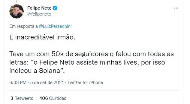Felipe Neto var forarget over at blive brugt af kryptovalutalærere uden at navngive navne