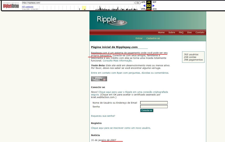 Site da Ripple em 2007. Fonte: Wayback Machine https://web.archive.org/web/20070702211031/https://ripplepay.com/