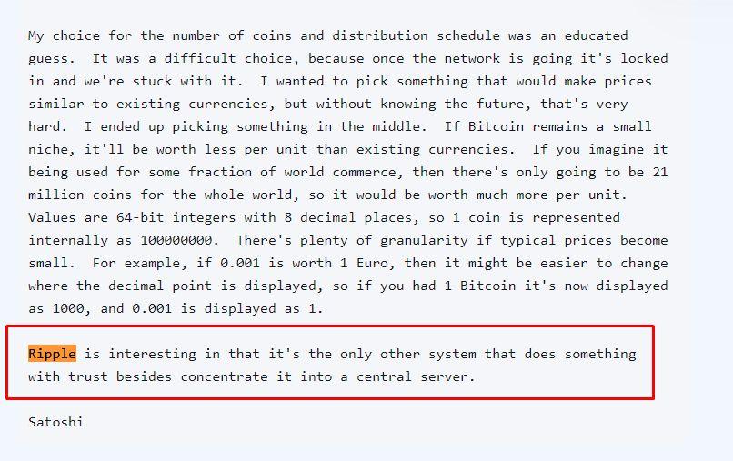 Satoshi fala sobre a Ripple em 2009