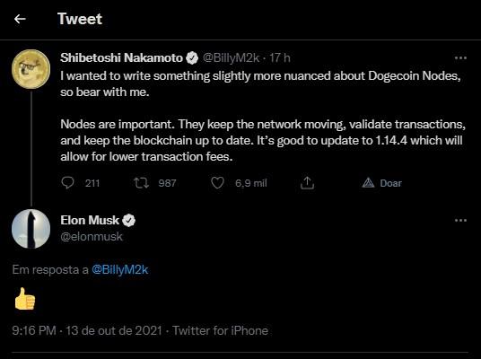 Elon Musk signale son soutien au créateur de Dogecoin